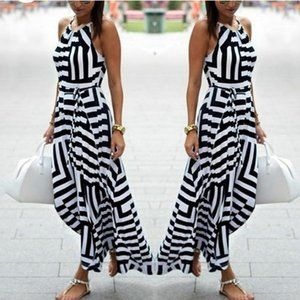 BOHO SLEEVELESS BLACK/WHITE DRESS w/BELT MEDIUM